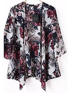 Kadın Pamuk ½ Kol Uzunluğu Yuvarlak Yaka Yaz Sonbahar Çiçekli Sade Günlük/Sade Normal-Kadın Ceketler