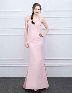 マーメイド/トランペットホルターブラシトレインサテンイブニングドレス