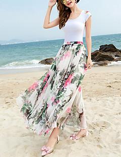 Röcke,Schaukel Blumen Chiffon,Strand Urlaub Boho Mittlere Hüfthöhe Midi Elastizität Polyester Unelastisch Riemengurte Sommer