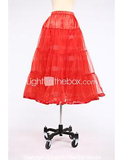 Slips Ball Gown Slip Tea-Length 2 Satin Tulle White Black Red