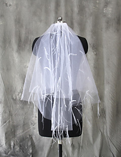 Wedding Veil Two-tier Elbow Veils Cut Edge Tulle