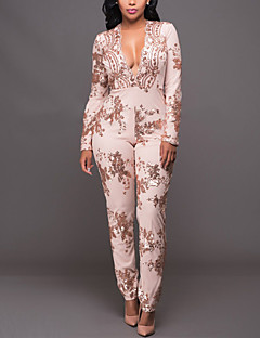 Women's Sequin Slim JumpsuitsCasual/Daily / Club Sexy / Street chic Slim Print Sequins Deep V Long Sleeve Mid Rise