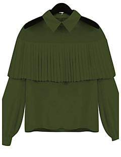 Sommar Enfärgad Långärmad Ledigt/vardag Formella Arbete Blus,Sexig Enkel Streetchic Dam Tröjkrage Polyester Medium Röd Vit Svart Grön