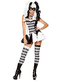 Cosplay Kostýmy Burlesque/Klaun Festival/Svátek Halloweenské kostýmy Černá/bílá Pléd Vrchní deska Sukně Nákrčník PunčocháčeHalloween