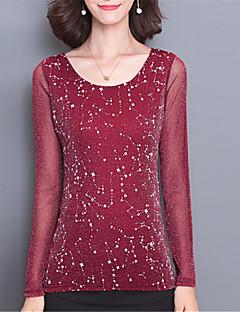 Feminino Camiseta Para Noite Casual Moda de Rua Primavera Verão,Sólido Azul Vermelho Preto Roxo Poliéster Decote Redondo Manga Longa Média