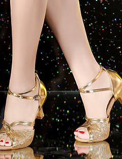 Na míru-Dámské-Taneční boty-Latina-Satén Koženka Syntetika-Kubánský-Černá Modrá Hnědá Červená Stříbrná Zlatá Černé zlato