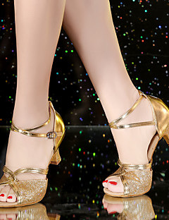 Non Customizable Women's Dance Shoes Satin Leatherette Synthetic Satin Leatherette Synthetic Latin Sandals Full Sole Heels Cuban Heel