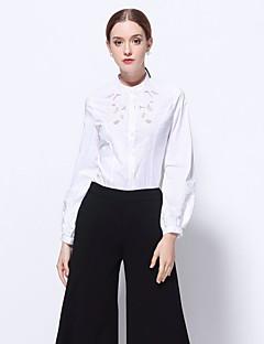 Camicia Da donna Per uscire Formali Ufficio Sensuale Sofisticato Primavera,Ricamato A collo alto Poliestere Manica lunga Medio spessore