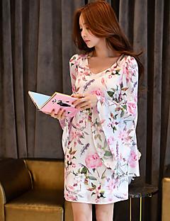 Reto Bainha Chifon Vestido, Para Noite Praia Férias Vintage Boho Fofo Floral Estampa Colorida Decote V Acima do Joelho Manga Longa Rosa