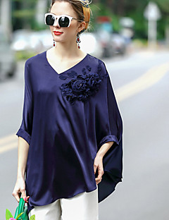 REVIENNE BAY Women's Going out Casual/Daily Simple Spring Summer Shirt,Solid V Neck ¾ Sleeve Silk