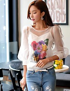 Feminino Camisa Social Para Noite Casual Férias Fofo Moda de Rua Sofisticado Primavera Verão,Floral Estampa Colorida Poliéster Elastano