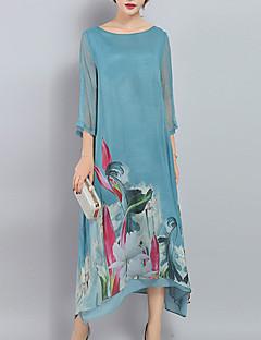 Ample Robe Femme Grandes Tailles Sortie Sophistiqué,Imprimé Col Arrondi Midi Manches ¾ Bleu Polyester Printemps Taille Normale