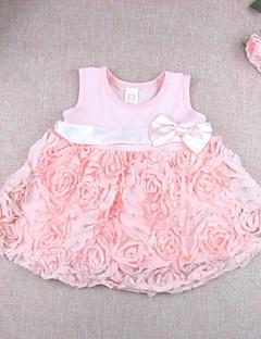 bebê Vestido,Casual Cor Única Floral Algodão Modal Verão Rosa