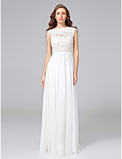 A-line Jewel Sweep / Brush Train Chiffon Lace Wedding Dress with Sash / Ribbon Bow Button by