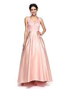 LAN TING BRIDE Asymmetrical V-neck Bridesmaid Dress - Sparkle & Shine Sleeveless Satin