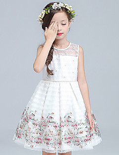 plesový šaty koleno délka květina dívka šaty - organza bez rukávů šperk krk od ydn