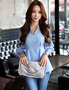 Women's Going out Casual/Daily Holiday Cute Street chic Sophisticated Spring Fall ShirtSolid Stand  Sleeve Blue Polyester Spandex Opaque