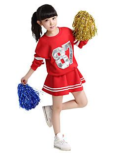 Fantasias para Cheerleader Roupa Crianças Para Meninas Actuação Algodão Recortes 2 Peças Manga Comprida Natural Saia Topo110:49, 120:52,