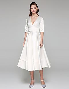 Lanting Bride® A-Linie Hochzeitskleid - Schick & Modern Rückenfrei Tee-Länge V-Ausschnitt Satin mit Schärpe / Band