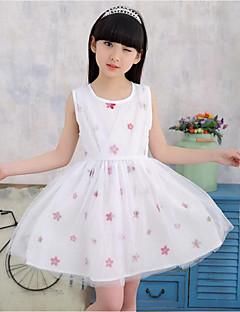 Menina de Vestido Cor Única Floral Verão Primavera Algodão Poliéster Sem Manga