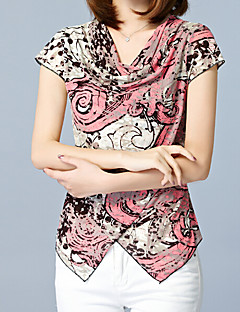 Feminino Camiseta Casual Trabalho Tamanhos Grandes Simples Sofisticado Verão,Estampa Animal Rosa Tipos Especiais de Couro Lapela Chanfrada