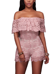 Women's Skinny RompersCasual/Daily Club Sexy Street chic Color Block Lace Fashion Grace Slim Backless Boat Neck Short Sleeve High Rise