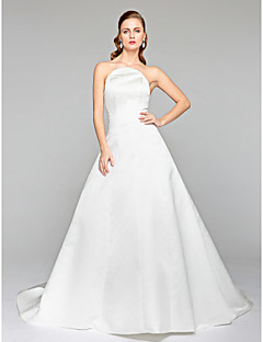 LAN TING BRIDE A-line Wedding Dress - Elegant & Luxurious Open Back Court Train Strapless Satin with Bow