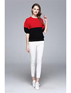 Damen Standard Pullover-Lässig/Alltäglich Urlaub Einfach Street Schick Gestreift Rot Weiß Rundhalsausschnitt ½ Länge ÄrmelBaumwolle