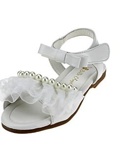 女の子用-ウェディング アウトドア オフィス ドレスシューズ カジュアル パーティー-レザーレット-フラットヒール-フラワーガールの靴-フラット-ピンク ホワイト