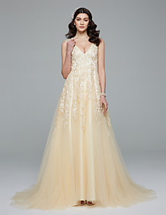 LAN TING BRIDE A-line Wedding Dress Simply Sublime Wedding Dress in Color Sweep / Brush Train V-neck Lace Tulle with Appliques