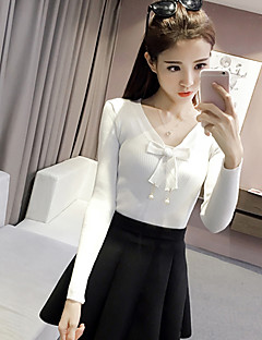 Women's Casual/Daily Sexy Cute Spring Fall T-shirt,Solid Round Neck Long Sleeve Pink White Black Gray Cotton