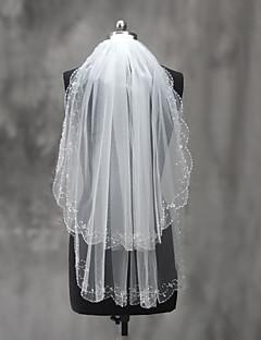 웨딩 면사포 두층 팔꿈치 베일 구슬장식된 가장자리 명주그물