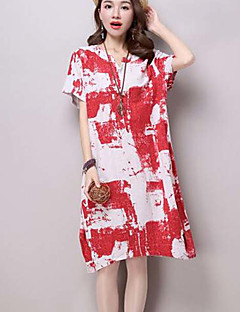 2016 summer ink printing large size women loose short-sleeved dress Ethnic Dress