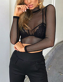 Women's Going out Casual/Daily Sexy Cute Spring Summer T-shirt,Solid Round Neck Long Sleeve Polyester Sheer