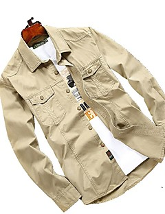 Men's Shirt Tops Breathable Quick Dry Spring Flaxen Light Khaki