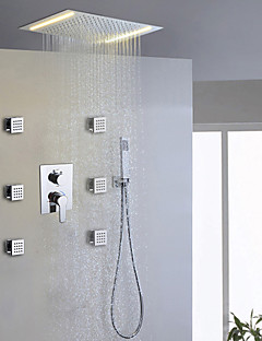 現代風 シャワーシステム LED レインシャワー ハンドシャワーは含まれている with  セラミックバルブ 二つのハンドル9ホール for  クロム , シャワー水栓
