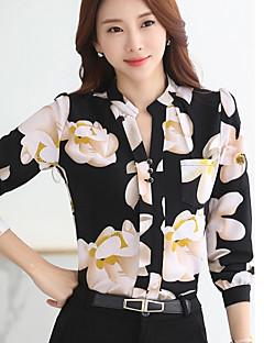 Feminino Blusa Para Noite Simples Verão Outono,Estampado Poliéster Colarinho de Camisa Manga Longa Média
