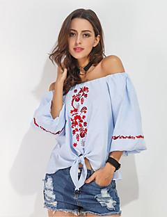 Majica Ženske,Vintage Ulični šik Izlasci Ležerno/za svaki dan Jednobojni-Dugih rukava Lađa izrez-Ljeto Srednje Pamuk