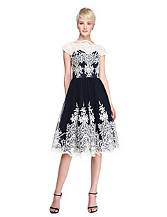 TS Couture Cocktail Party Dress - See Through Color Block A-line High Neck Knee-length Lace Tulle with Appliques