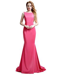マーメイド/トランペットバトーネックコートトレインマットサテンフォーマルイブニングドレス