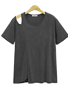T-shirt-Damskie Moda miejska Lato Codzienne-Okrągły dekolt Jendolity kolor-Krótki rękaw Średni/a Bawełna