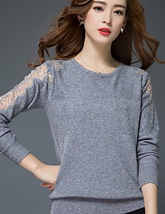 Women's Casual/Daily Simple Short Pullover,Solid Round Neck Long Sleeve Cotton Fall Medium Micro-elastic