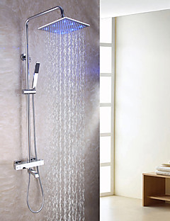Bath Tub Shower Faucet Set With 10 Inch 3 Colors LED Shower Head /Brass Hand Shower / Thermostatic / Chrome / Brass / Contemporary