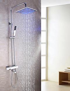 現代風 壁式 LED サーモスタットタイプ ハンドシャワーは含まれている with  真鍮バルブ 二つのハンドル三穴 for  クロム , シャワー水栓