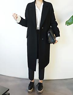 אחיד צווארון חולצה פשוטה ליציאה יום יומי\קז'ואל בלייזר נשים,אביב סתיו שרוול ארוך ארוך פוליאסטר