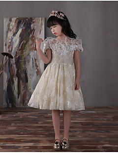 HUA XI REN JIAO A-line Knee-length Flower Girl Dress - Lace Satin Chiffon Off-the-shoulder with Bow(s) Feathers / Fur Lace Pearl Detailing