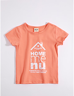 T-shirt Afslappet/Hverdag Geometrisk,Bomuld Sommer Kortærmet