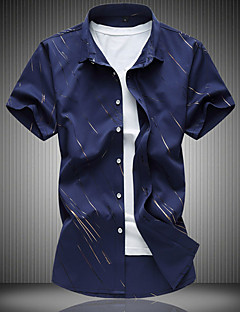 Bomull Kortermet,Skjortekrage T-skjorte Blomstret Geometrisk Enkel Fritid/hverdag Herre