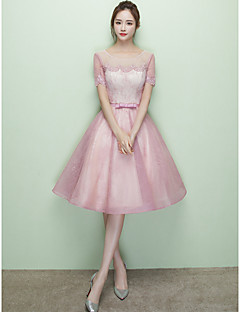 Knee-length Scoop Bridesmaid Dress - Lace-up Short Sleeve Lace Tulle