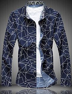 Bomull Langermet,Skjortekrage Skjorte Trykt mønster Vår Enkel Fritid/hverdag Herre